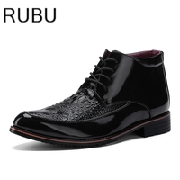 Brand Men S Boots New Fashion Patent Leather Crocodile Style Mens Dress High Quality Formal Oxford