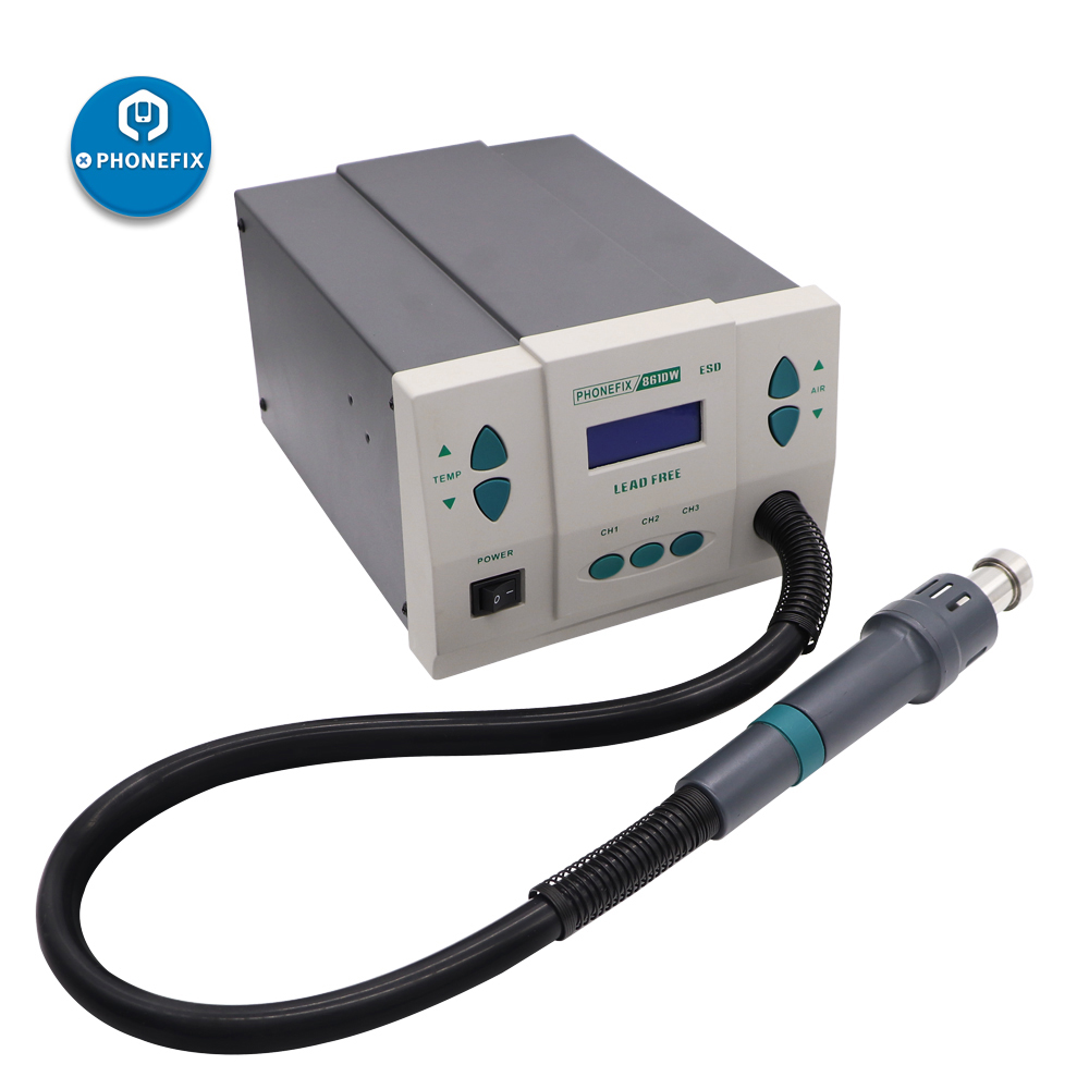 PHONEFIX 900W Digital Rework Station 861DW Digital Soldering Rework Station Hot Air Heat Gun Station With 3 Nozzles