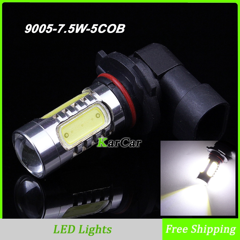 7.5W 9005 HB3 5 COB Chip with Lens Super Bright LED Car Fog Headlight Day Running Main Beam Light Bulb Lamp White zоом 3 day white with acp excel 3