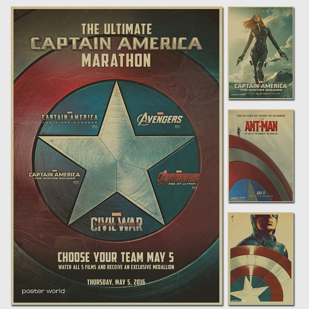 Captain America De cuadros retro Kraftpapier Poster Movie tekening ...