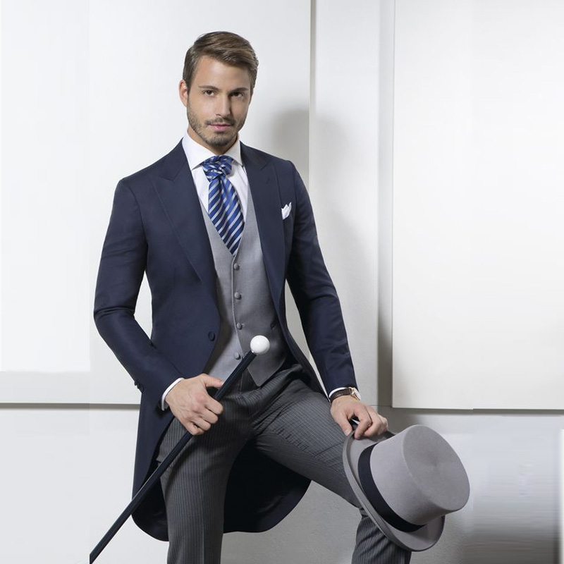 Morning Coat Blazer Navy-Blue Pants Wedding-Suits Slim-Fit-Suit Party Male Long Striped