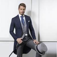 Long Navy blue Coats Tailcoat Morning Coat Wedding Suits for Men Male Blazer Slim Fit Suit with Striped Pants Party 3 Pieces