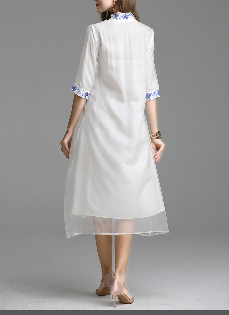 V Blanc Style xxl Chinois Printemps Robe Vacances Personnalisée Porcelaine Folk Balnéaire Rétro Soie cou En Bleu Et M broderie Tempérament xwBt7gqt4