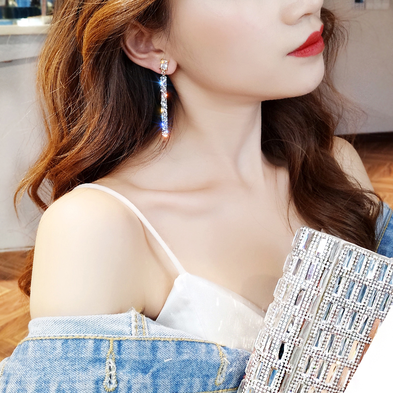 19 New Fashion Arrival Crystal Classic Geometric Long Dangle Earrings For Woman Female Jewelry Korean Simple Earrings 5