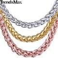 Trendsmax personalizar cualquier longitud 5mm gold filled cadena collar para mujer para hombre del trigo del acoplamiento de cadena al por mayor de la joyería gn304