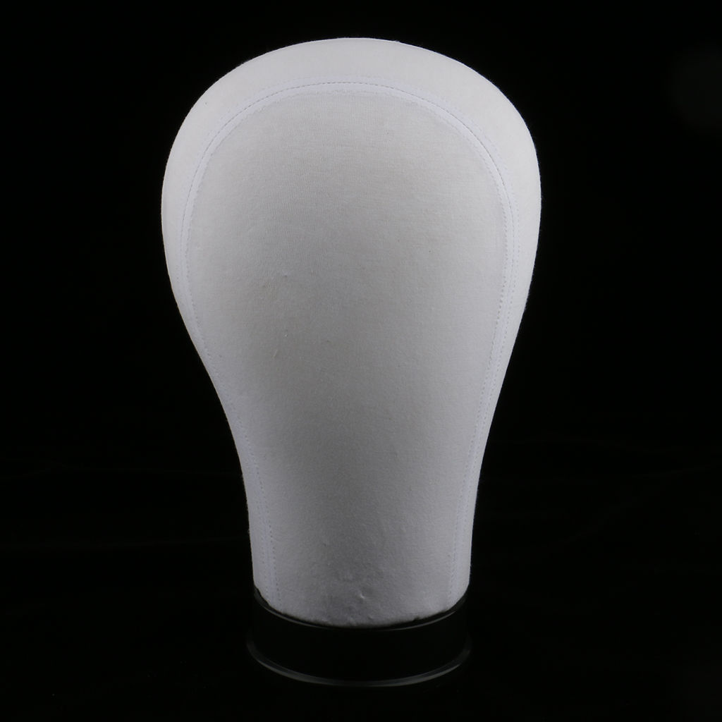 Mannequin Model Cork Head Canvas Block Head Wig Cap Making Display White 21''