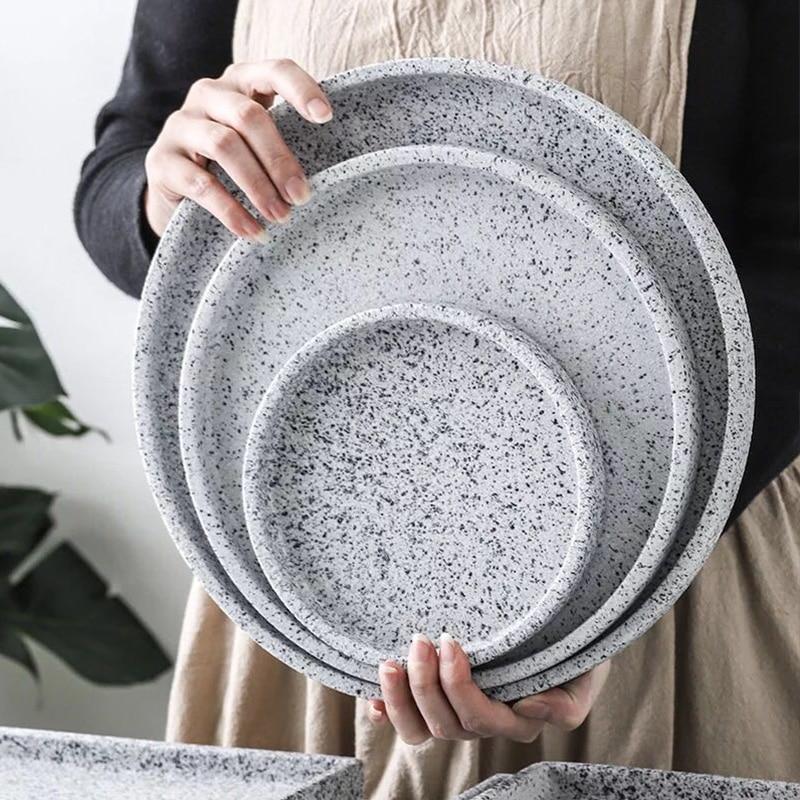 ><font><b>Nordic</b></font> <font><b>style</b></font> imitation granite <font><b>ceramic</b></font> plate marble pattern tray creative linen tableware storage tray hotel storage tray