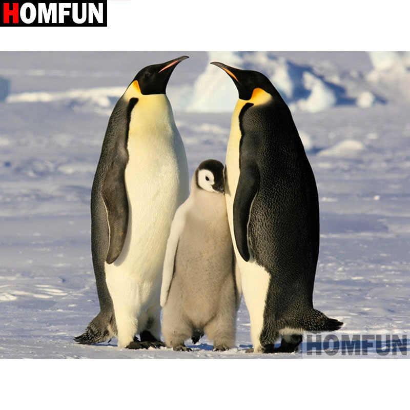 """HOMFUN полный квадратный/круглый дрель 5D DIY Алмазная картина """"животное Пингвин"""" 3d-бриллиантовая вышивка крестиком домашний декор A19110"""