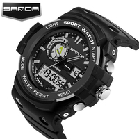 2017 New Arrival SANDA Waterproof Dual Time Digital Sport Multi Function Wrist Watch Wristwatches For Men