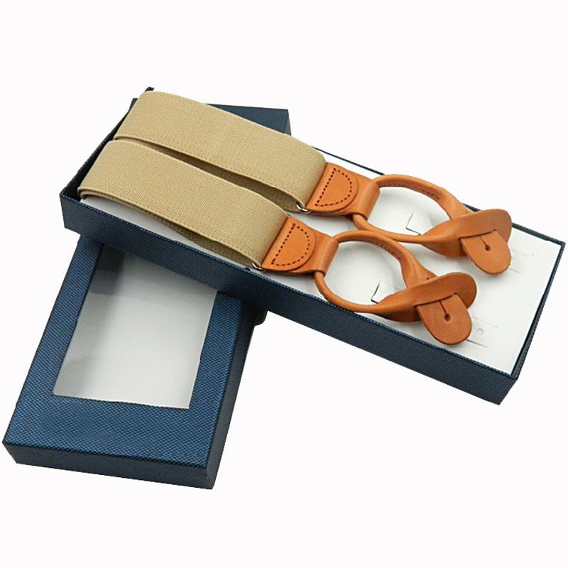 New Upper LeatherButtons Suspenders Fashion Braces Adjustable Elastic Suspenders Bretelles Y-Back Ligas Tirantes 3.5*120cm 2019