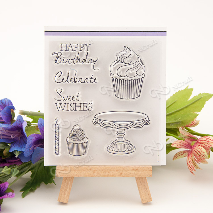 Birthday cake / dessert Transparent Clear Silicone Stamp/Seal for DIY scrapbooking/photo album Decorative clear stamp about loving heart design transparent clear silicone stamp for diy scrapbooking photo album clear stamp christmas gift ll 278