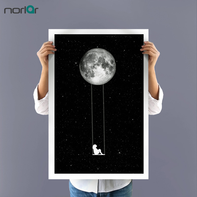 Minimalism WALL ART Outer Space The Girl Swinging on The Moon Canvas ...
