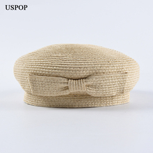 USPOP 2019 New spring hats fashion straw berets women sweet bow-not hat female breathable solid color beret