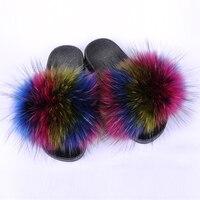 SHOEMER Fur Slippers Women Real Fox Fur Slides Home Furry Flat Sandals Female Cute Fluffy House Shoes Woman Brand Luxury 2019