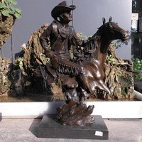 Cowboys COWBOY RIDING character abstract bronze horse copper sculpture art crafts Home Furnishing jewelry ornaments