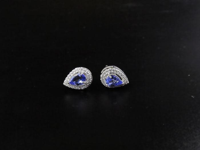 ZHHIRY Natural Blue Tansanit Ohrring Genuine Solid 925 Sterling - Edlen Schmuck - Foto 3