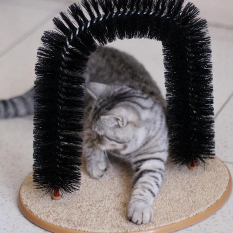 Arch Pet Cat Self Groomer With Round Fleece Base Cat Toy Brush Toys Cats Massage Arch Pet Cat For Pets Scratching Devices