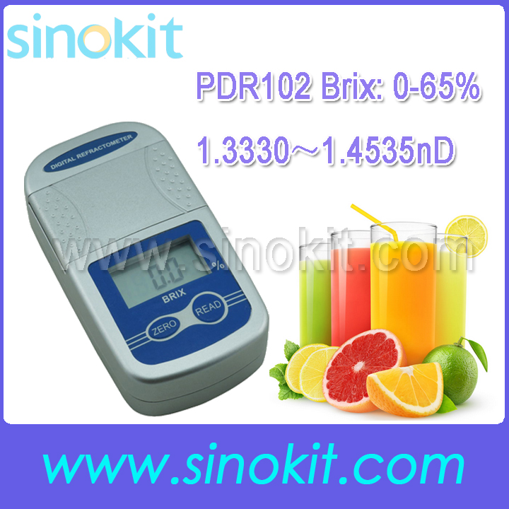 Free Shipping Newest Brix 0-65% and 1.3330-1.4535nD Digital Refractometer - PDR102
