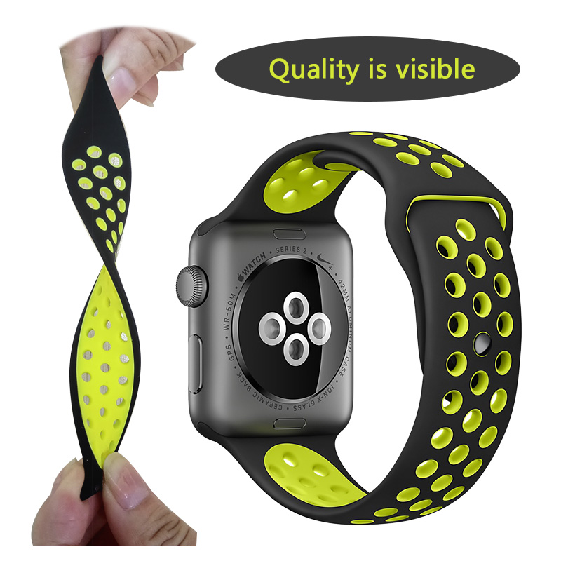 Merk Silicon Sports Band Strap voor Apple Watch 44mm 38 / 42mm 1: 1 Originele zwart / Volt zwart / grijs zilver iwatch horlogebanden FOHUAS