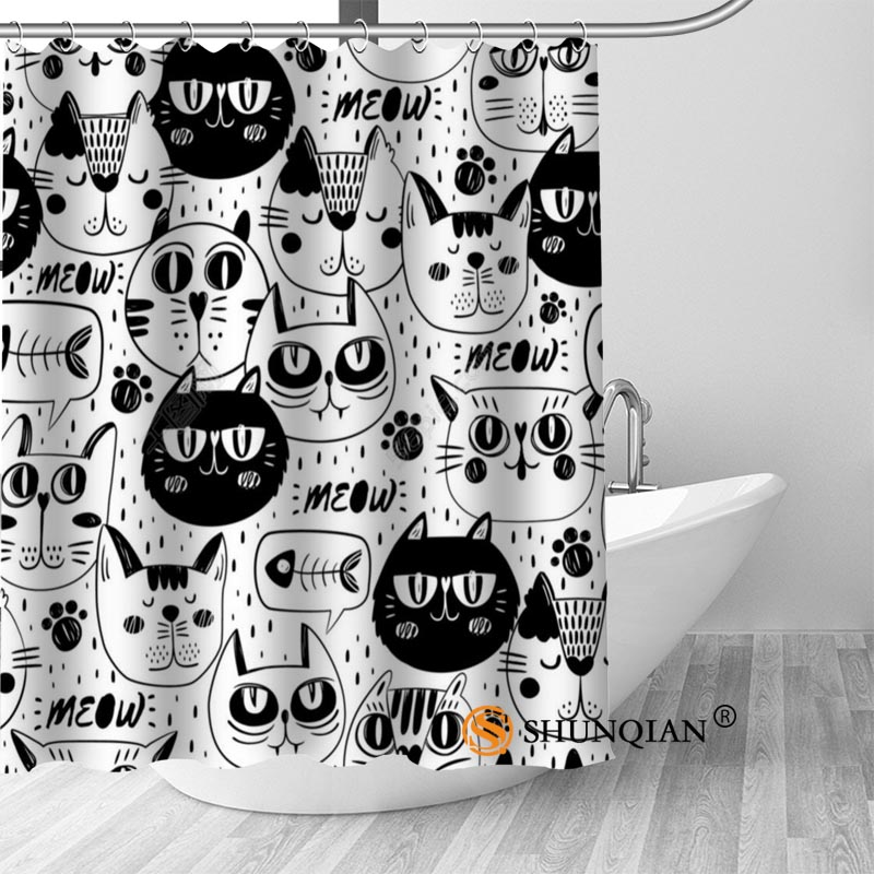 High Quality Custom Lovely Cartoon cat Shower Curtains Polyester Bathroom Curtains With Hook Bath Curtain Bathroom Decor ...