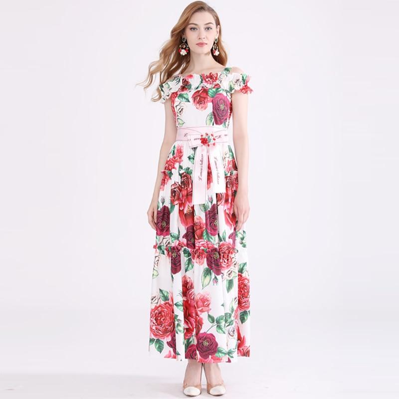 Automne jolie Rose imprimer Spaghetti sangle longue robe de haute qualité mode doux sans manches mince vacances Floral Maxi robe