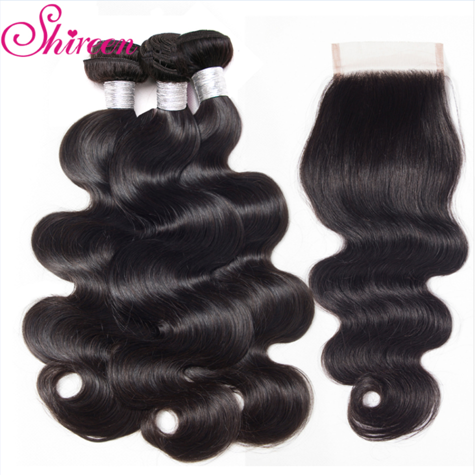 Shireen Hair 3 Bundles Brazilian Body Wave Hair With Closure 4*4 Free Part 4pcs/lot Remy Human Hair Extension Natural Color