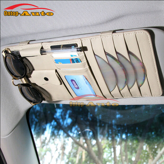 Couro genuíno Óculos de Sol Carro Auto Viseira CD Cartões Bilhetes Caneta Zipper Saco De Armazenamento Organizador Titular