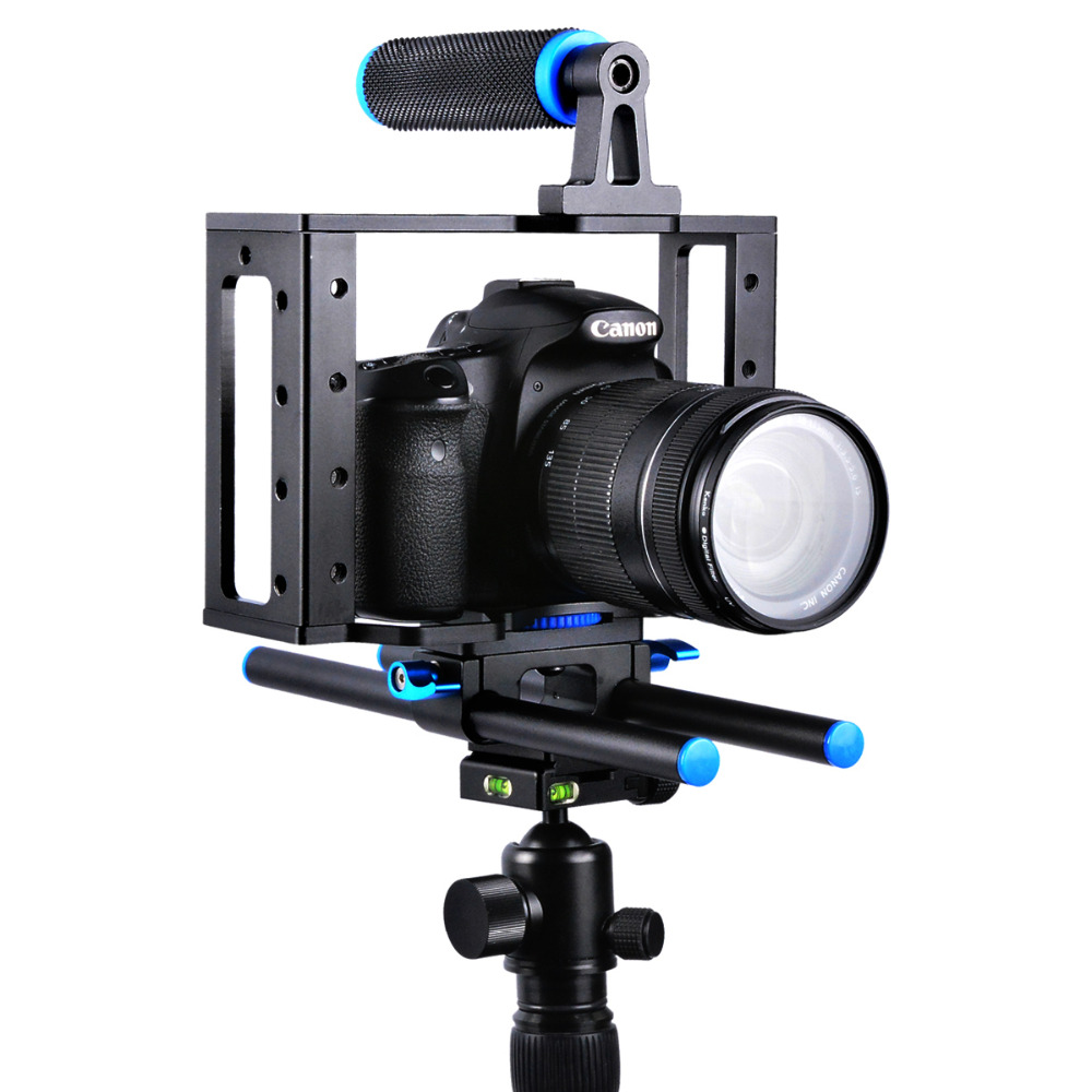 Handheld Aluminum Alloy Rail 15mm Rod DSLR Rig Video Camera Cage Rail With Top Handle Grip For for Canon Nikon Olympus DSLR SLR
