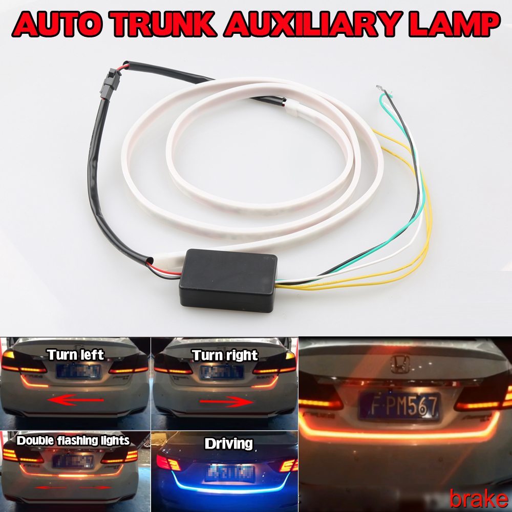 New Universal Car Tail Brake Stop Turn Signal Integrated LED Daytime Running Light Strip Ice Blue