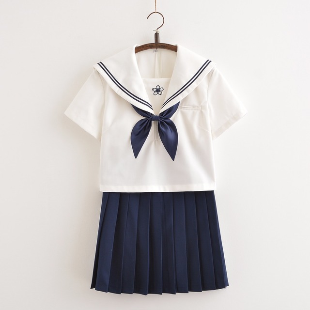 9477e05ef4 UPHYD Schoolgirl Uniform New Japanese Anime Cosplay Student Uniforms  Teenage Sailor Suits White Shirt+Pleated Skirt+Tie