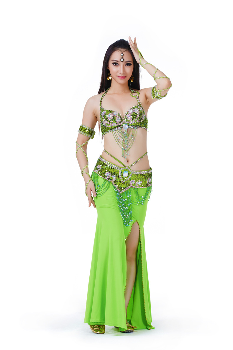 251b45801 11 Color Women Beaded Belly Dance Costume 4 PCS (Bra, Belt, Skirt,Armlet) Oriental  Dance Costumes Stage Dancer Wear Indian Dress