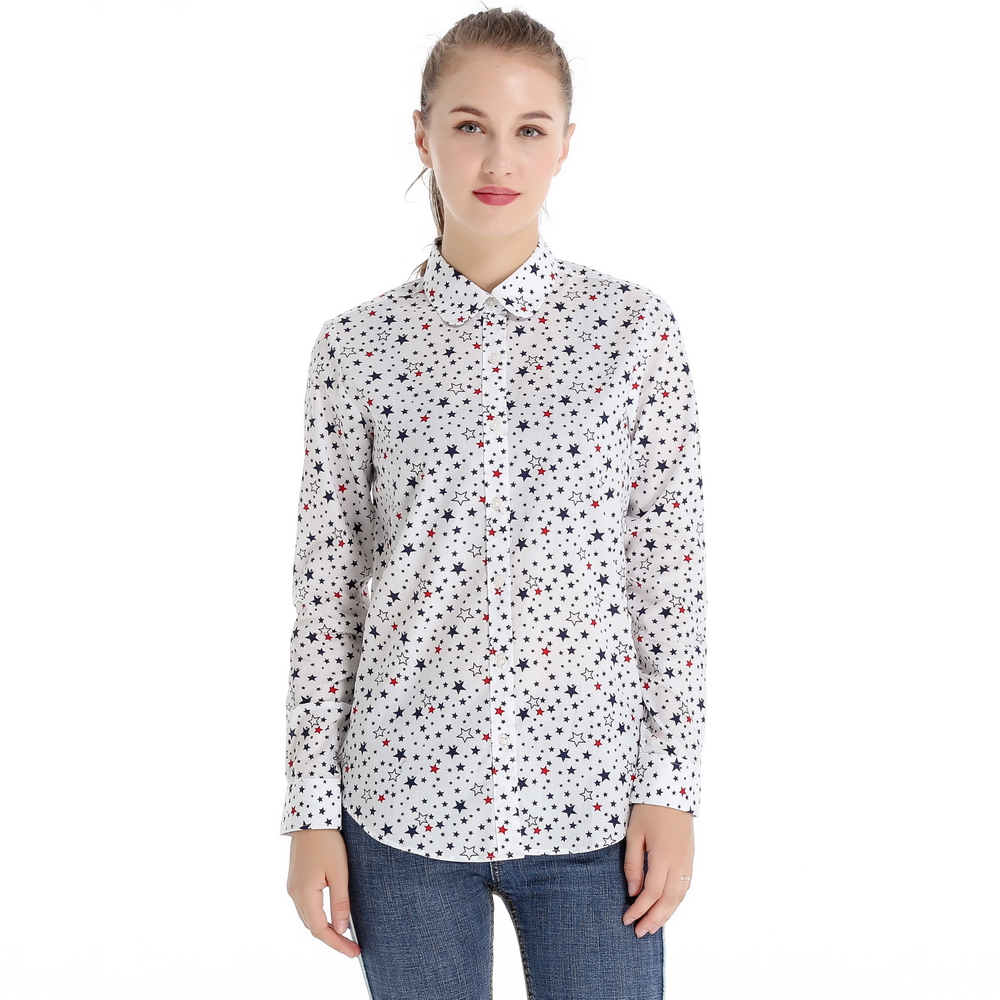 100 Cotton Long Sleeve Shirt Women 2017 Latest Fashion