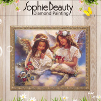 Mosaic 3D Diy Diamond Embroidery Angels And Flower Diamond Painting Square Diamond Needlework Painting
