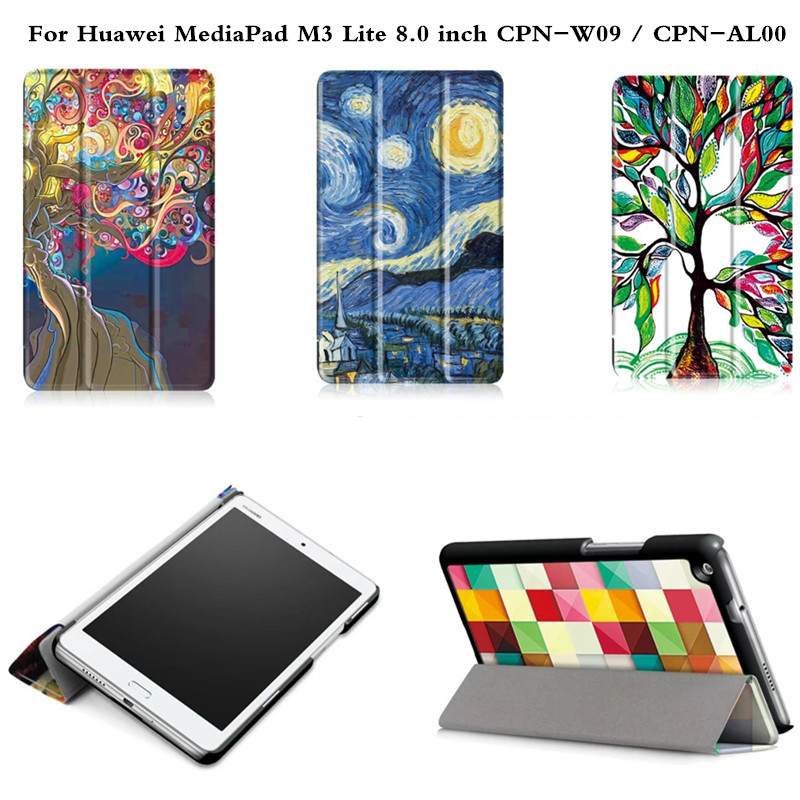 Coque Smart Cover Colorful Painting PU Leather Stand Case For Huawei MediaPad M3 Lite 8 8.0 inch CPN-W09 CPN-AL00 Tablet case for huawei mediapad m3 lite 8 case cover m3 lite 8 0 inch leather protective protector cpn l09 cpn w09 cpn al00 tablet case