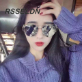 RSSELDN 2016 New Cat Eye Sunglasses Women Vintage Fashion Rose Gold Mirror Sun Glasses Metal Frame Ladies Sun glasses Female