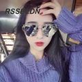 Rsseldn 2016 new cat eye sunglasses mujeres moda vintage espejo gafas de sol de marco de metal de oro rosa de las señoras gafas de sol mujer