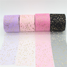 20m/lot Width 6cm Golden Star Spot Printed Glitter Tulle Mesh Roll Spool Tutu Pom Soft Squine DIY Crafts Decoration