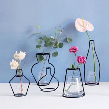 Brand New Style Retro Iron Line Flowers Vase Metal Plant Holder Modern Solid Home Decor Nordic Styles Iron Vase 1