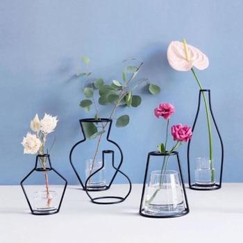 Brand New Style Retro Iron Line Flowers Vase Metal Plant Holder Modern Solid Home Decor Nordic Styles Iron Vase 1