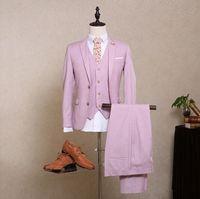 Formal pink men suit summer wedding suit for men stage suit blazers custom made male suit slim fit tuxedo jacket+pants+vest