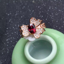 Natural red garnet gem Ring Natural gemstone ring S925 sterling silver trendy Elegant Butterfly flowers women party fine Jewelry