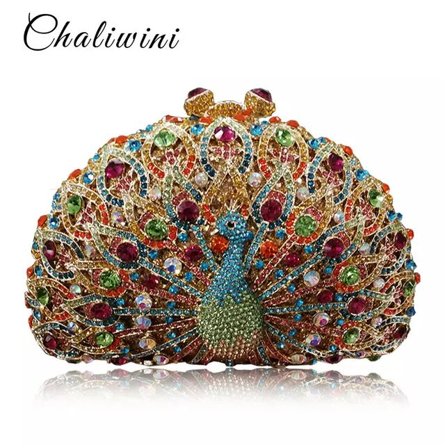 Clutch Purse Evening Bags For Womens Chain Dress Handbag Rhinestones Wedding Flower
