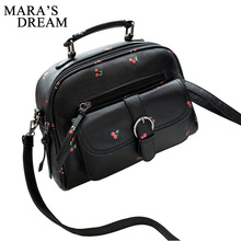 Mara's Dream 2017 Women Bag Fashion Shoulder Bag PU Leather Casual Simple Totes Fresh Cherry Messenger Bag Matte Leather Bag