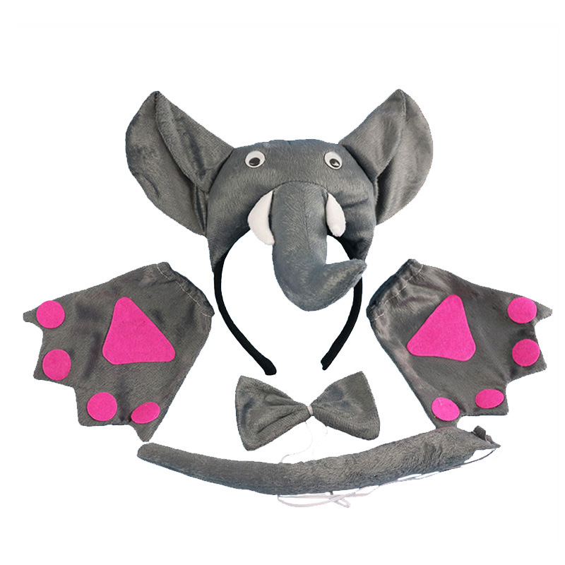 Efficient Child Adult Animal Costume Sets Round Monkey Ears Headband Bow Ties Long Tail Halloween Birthday Party Favors Cosplay Kit Women's Hair Accessories