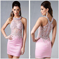 Robe De Cocktail 2016 Sexy Mini Homecoming Dresses Pink Illusion Net crystal Beadings Halter Straight Prom Dress