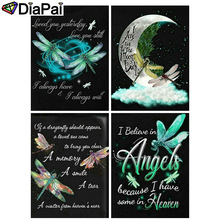 DIAPAI Diamond Painting 5D DIY 100% Full Square/Round Drill Dragonfly moon text 3D Embroidery Cross Stitch Home Decor diapai 5d diy diamond painting 100% full square round drill text moon buddha diamond embroidery cross stitch 3d decor a21533