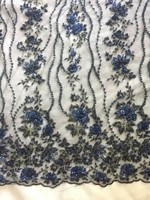 1 yard dark blue heavy beaded lace fabric, super delicat beads lace fabric, vintage style bridal lace fabric, beading cord lace