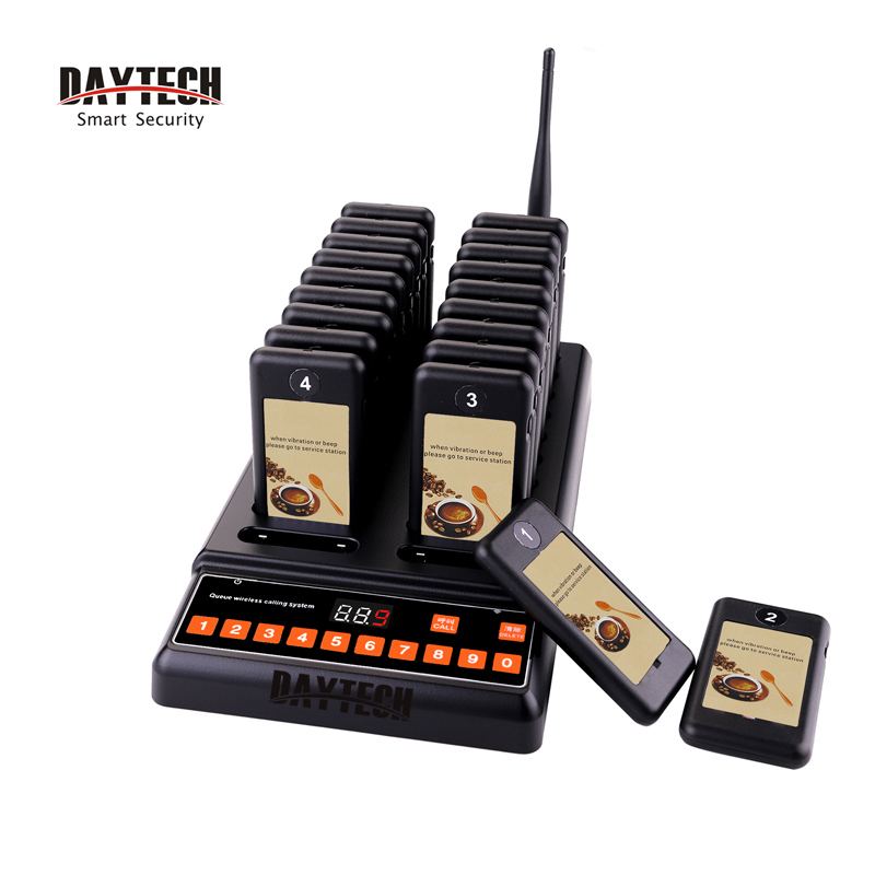 DAYTECH Restaurant Pager Wireless Calling Pagering System Coast Pagers 433MHZ Call Buzzers 20 Buttons Waiter Service System цена