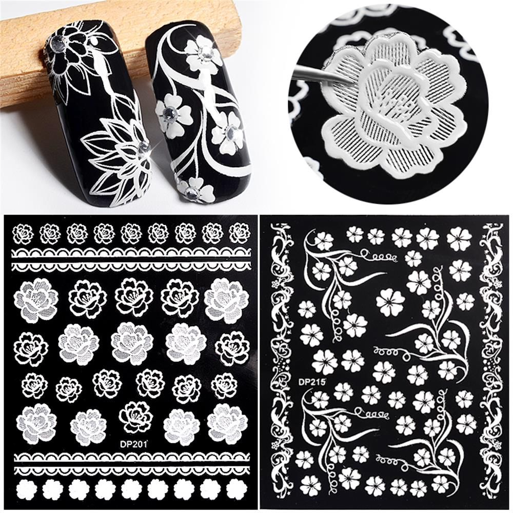 1 Sheet White Flowerlace Nail Art Stickers Decals Creative Embossed