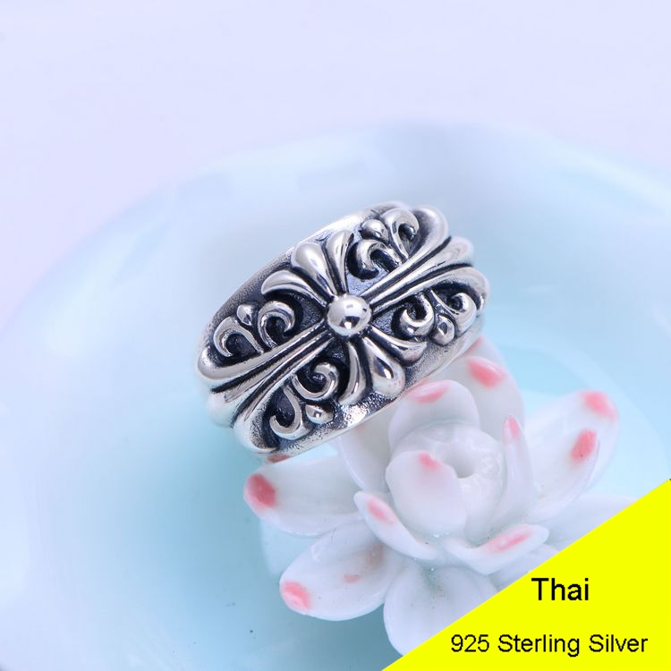 Genuine 925 Sterling Silver Retro Men Male Ring Thai Silver Fine Jewelry Gift Wide Cross Finger Ring CH056495